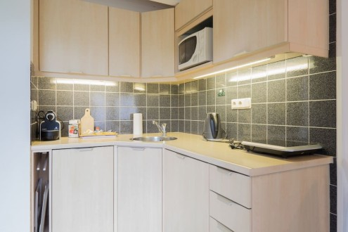 Koetshuis keuken inductiefornuis vaatwasser koelkast